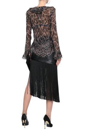 ROBERTO CAVALLI Ruffled leopard-print silk-chiffon blouse
