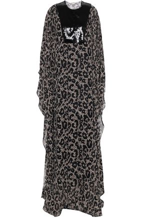 ROBERTO CAVALLI Sequined-paneled leopard-print silk-georgette maxi dress