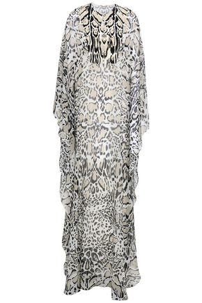 ROBERTO CAVALLI Draped leopard-print silk-georgette maxi dress
