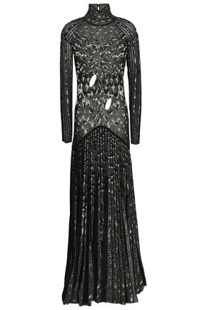 ROBERTO CAVALLI Cutout pleated metallic crochet-knit maxi dress