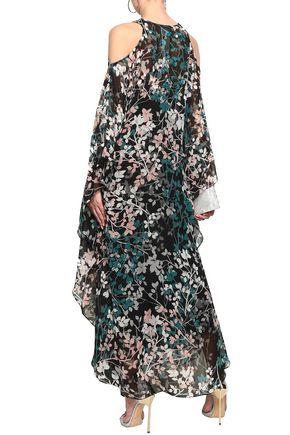 ROBERTO CAVALLI Cold-shoulder embellished floral-print silk-georgette maxi dress