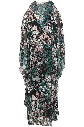 ROBERTO CAVALLI Cold-shoulder embellished floral-print silk-georgette maxi dress