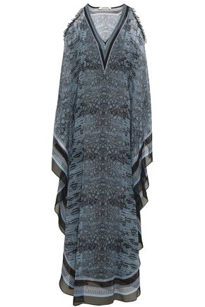 ROBERTO CAVALLI Cold-shoulder embellished snake-print silk-georgette maxi dress