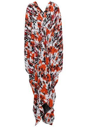 ROBERTO CAVALLI Cutout printed silk-georgette maxi dress
