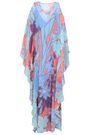 ROBERTO CAVALLI Cold-shoulder printed silk-georgette maxi dress
