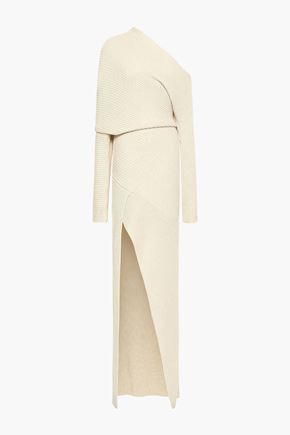 ROBERTO CAVALLI One-shoulder ribbed alpaca, silk and cashmere-blend gown