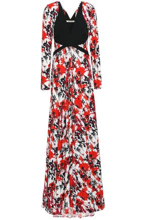 ROBERTO CAVALLI Crepe-paneled floral-print stretch-jersey maxi dress