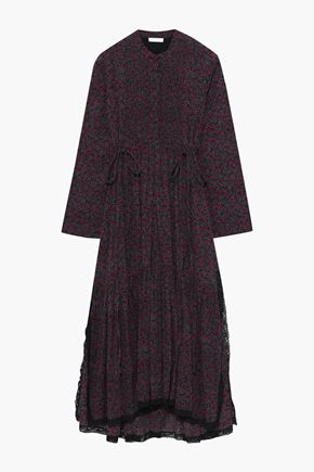 CHLOÉ Lace-trimmed printed cotton and silk-blend midi dress