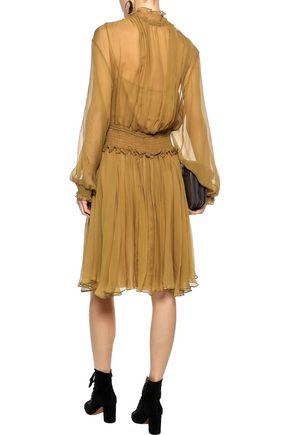 CHLOÉ Shirred silk-georgette dress