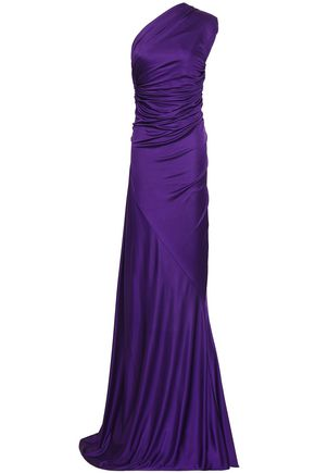 ROBERTO CAVALLI One-shoulder open-back stretch-jersey gown