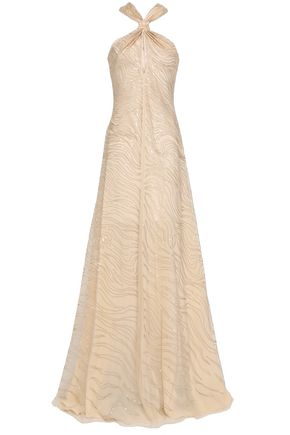 ROBERTO CAVALLI Flared sequined tulle gown