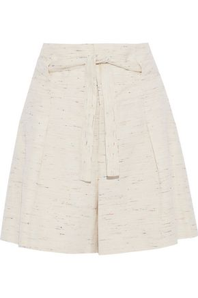 CHLOÉ Tie-front marled tweed shorts