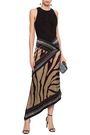 ROBERTO CAVALLI Zebra-print paneled silk-satin and crepe midi dress