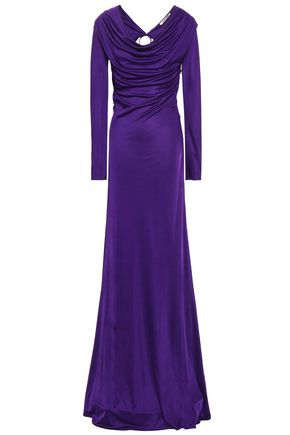ROBERTO CAVALLI Open-back draped stretch-jersey gown