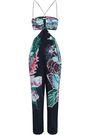 ROBERTO CAVALLI Cutout printed silk crepe de chine jumpsuit