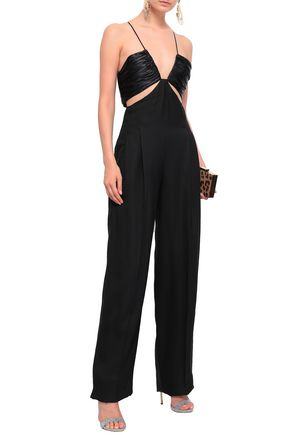 ROBERTO CAVALLI Cutout ruched satin and woven jumpsuit