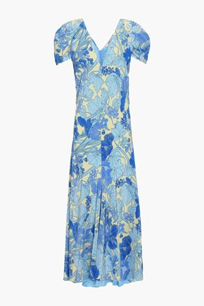 ROBERTO CAVALLI Fluted floral-print silk crepe de chine midi dress