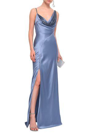 ROBERTO CAVALLI Crystal-embellished draped silk-satin gown