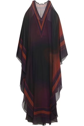 ROBERTO CAVALLI Cold-shoulder draped printed silk-georgette maxi dress
