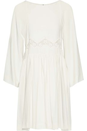 CHLOÉ Draped lace-paneled crepe mini dress