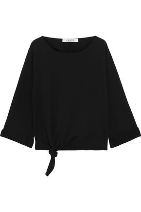 FRAME Knotted French cotton-terry sweatshirt