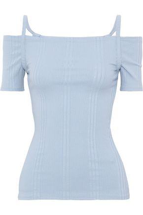 FRAME Cold-shoulder ribbed stretch-jersey top