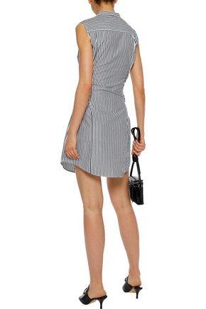 FRAME Tie-front striped cotton-poplin mini dress