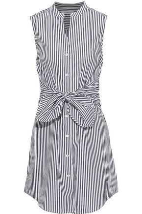 FRAME Tie-front striped cotton-poplin mini dress