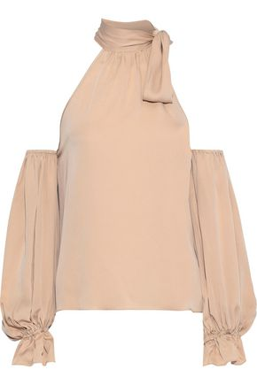 MILLY Viola cold-shoulder pussy-bow stretch-silk blouse