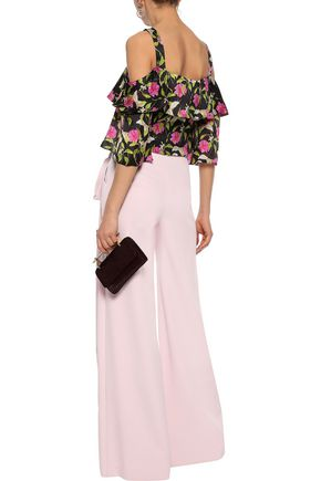 MILLY Audrey cropped cold-shoulder floral-print silk top