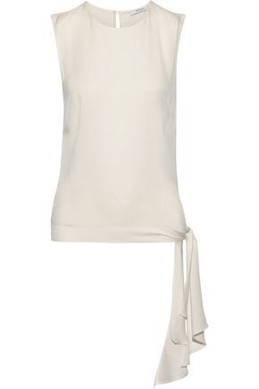 MILLY Jana tie-detailed stretch-silk top