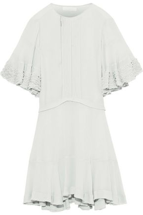 CHLOÉ Frayed ruffle-trimmed pintucked crepe mini dress