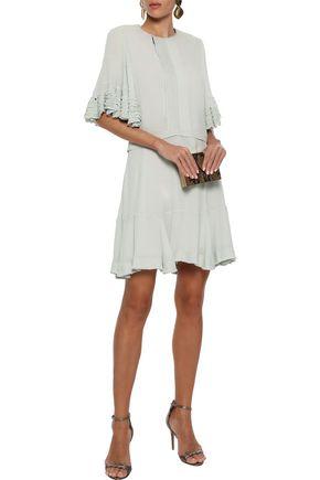 4f33efce1 CHLOÉ Frayed ruffle-trimmed pintucked crepe mini dress