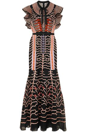 TEMPERLEY LONDON Canopy pussy-bow silk satin-trimmed embroidered organza gown