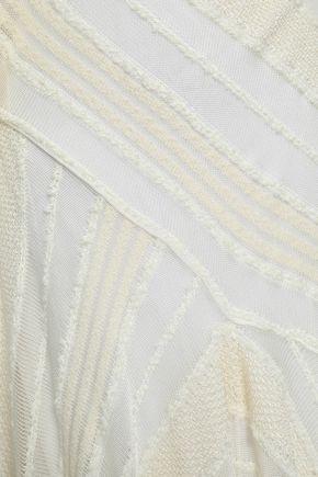 ROBERTO CAVALLI Draped knitted turtleneck midi dress