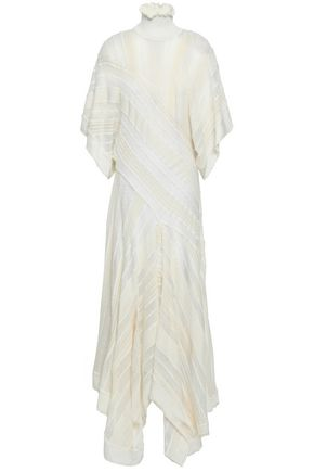 ROBERTO CAVALLI Draped knitted turtleneck midi dress