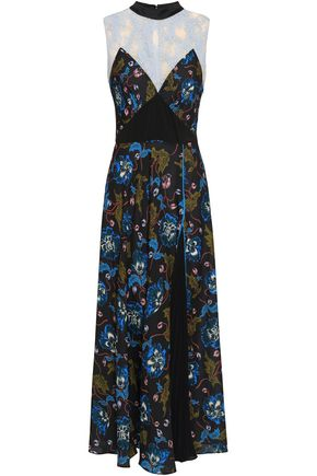 Lace Paneled Floral Print Crepe De Chine Midi Dress by Self Portrait