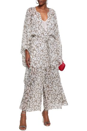 ROBERTO CAVALLI Draped belted leopard-print silk-georgette jumpsuit