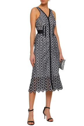 SELF-PORTRAIT Grosgrain-trimmed crocheted midi dress
