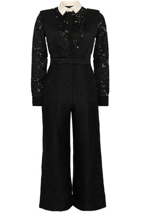 SELF-PORTRAIT Cropped guipure lace and woven jumpsuit