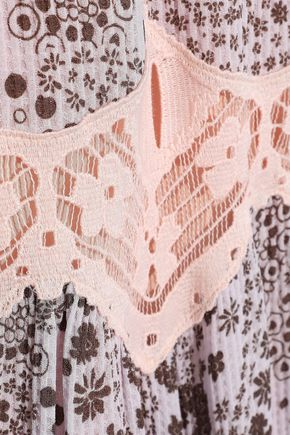 CHLOÉ Lace-trimmed printed gauze jumpsuit