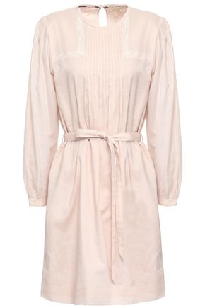 BURBERRY Lace-trimmed pintucked cotton mini dress