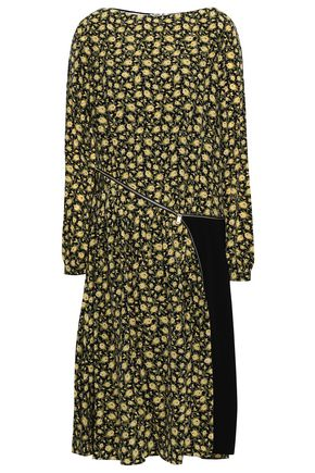 BURBERRY Stretch knit-paneled floral-print silk crepe de chine dress