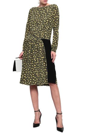 BURBERRY Stretch knit-paneled floral-print silk crepe de chine dress