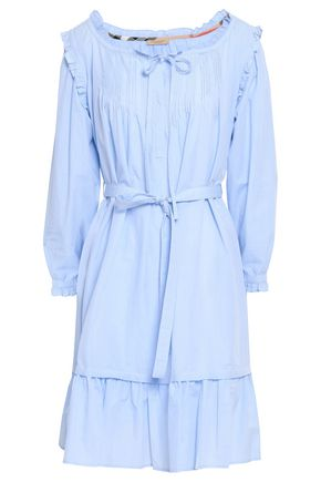 BURBERRY Ruffle-trimmed pintucked cotton-poplin mini dress