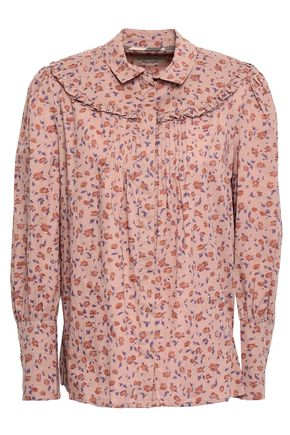 BURBERRY Pintucked floral-print cotton-poplin shirt