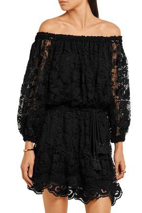 CHLOÉ Off-the-shoulder cotton-blend lace mini dress