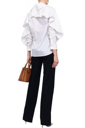 BURBERRY Ruffled cotton-blend poplin shirt