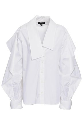 BURBERRY Ruffled cotton-blend poplin shirt