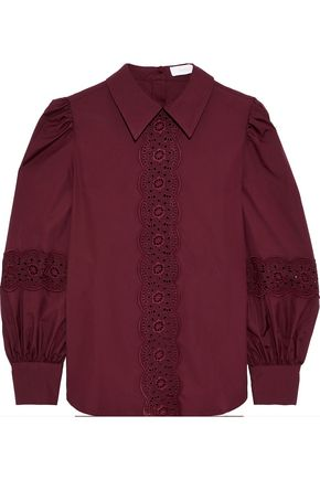 SEE BY CHLOÉ Broderie anglaise-trimmed gathered cotton-poplin blouse